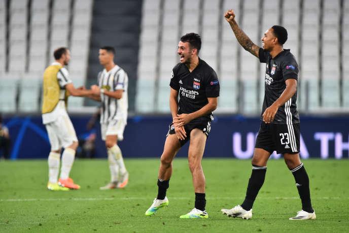 La joie de Lyon après avoir atteint les quarts de finale de la Ligue des champions.